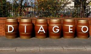 Barrels outside the Diageo facility near Glasgow, Scotland.