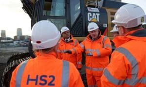 Boris Johnson and Sajid Javid visiting an HS2 construction site in Birmingham.