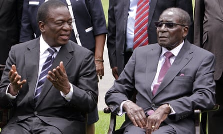 Emmerson Mnangagwa and Robert Mugabe.