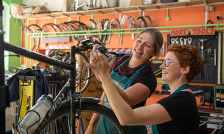 All hands to the wheel at Oxford's Broken Spoke co-op, which provided 30 free bikes to key workers during lockdown.