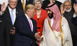 Donald Trump and Crown Prince Mohammed bin Salman at the G20 summit in Japan, July 2019: 'Saudi Arabia wants Iran beaten up but not broken and it relies on others to do the job because it is not up the task.'