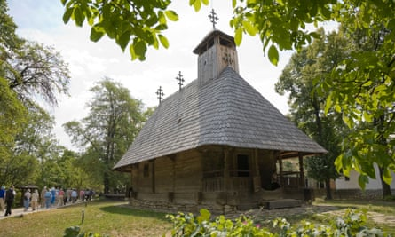 A wooden church from the Maramures region in the National Village Museum at Bucharest.
