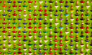Collectible football figurines at the Subbuteo Collectors' Fair