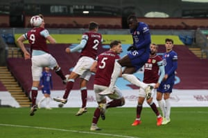 Chelsea's Kurt Zouma powers in a header for the second.
