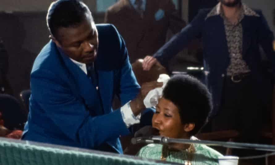 Heartwarming … Aretha Franklin's father mops her brow in Amazing Grace.