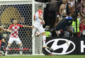 Perisic is back in the thick of things, defending his own goal from a France corner, and is accused of handling in the box seven minutes before half-time. truth be told it was more like ball to hand.