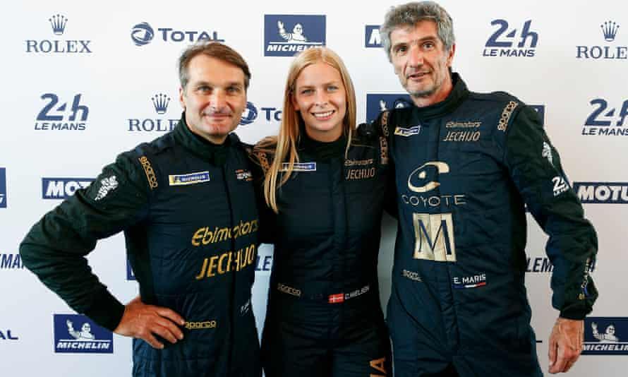 Christina Nielsen with her Le Mans 2018 co-drivers - Fabio Babini, left, and Erik Maris.