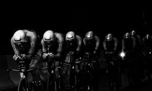 Riders of the Bahrain-Merida cycling team compete in the second stage, a 27.6km team time-trial in Brussels.