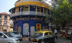 Exterior daytime shot of the Rhythm House record shop in Mumbai's Kala Ghoda district.