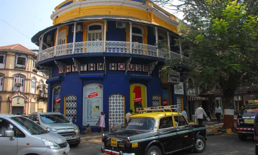 Exterior daytime shot of the Rhythm House record shop in Mumbai's Kala Ghoda district.