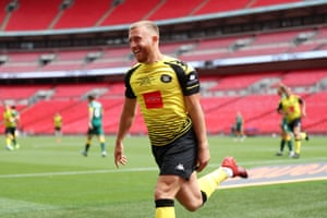 George Thomson of Harrogate Town celebrates after scoring his sides first goal.