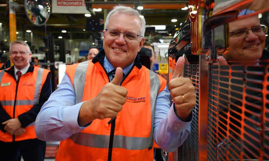 Australian prime minister Scott Morrison during a visit to PACCAR Australia in Melbourne