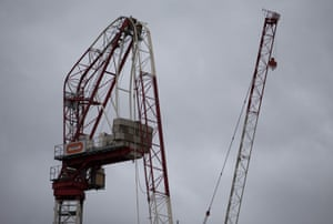 London, England: A crane that was damaged overnight