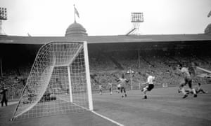 Colin Grainger scores his second goal and England's fourth in their 4-2 win over Brazil in 1956.