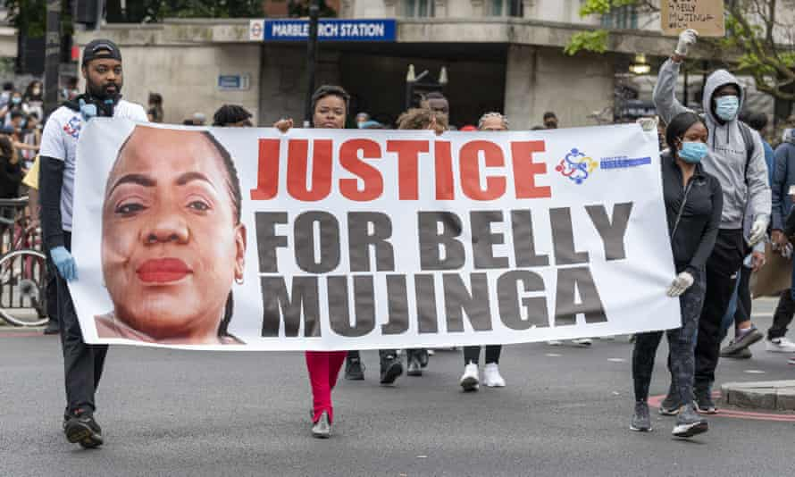Protesters at Hyde Park demanding justice for the Victoria station worker Belly Mujinga.
