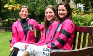 Michelle Payne, nearest, with her Shergar Cup team-mates Emma-Jayne Wilson, centre, and Hayley Turner.