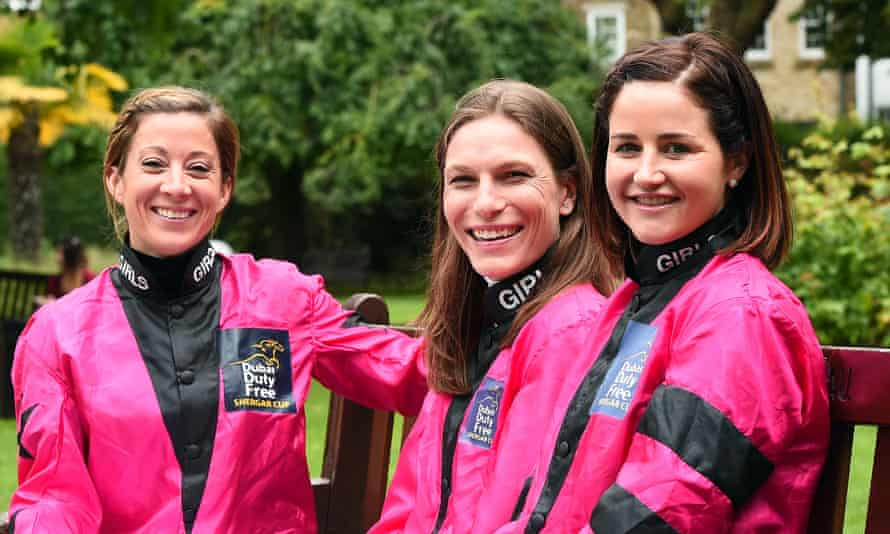 Hayley Turner, Emma-Jayne Wilson and Michelle Payne at a Shergar Cup promotional event in 2017