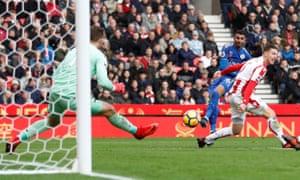 Leicester City's Riyad Mahrez scores their second goal.