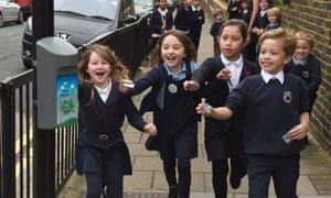 children running to sensor