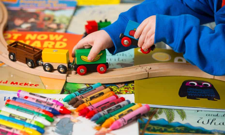 Child plays at nursery school