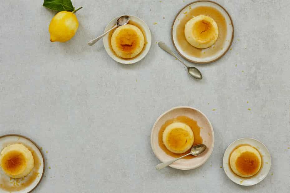 Bay and lemon-laced creme caramel