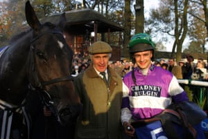 Robert Alner, pictured in between Kingscliff and jockey Robert Walford after winning the Betfair Chase at Haydock in 2005.
