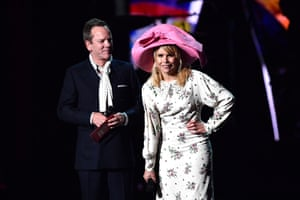 Kiefer Sutherland and Paloma Faith present the international male solo artist award to Tyler, The Creator.