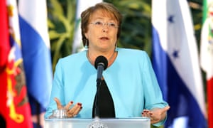 The Chilean president, Michelle Bachelet