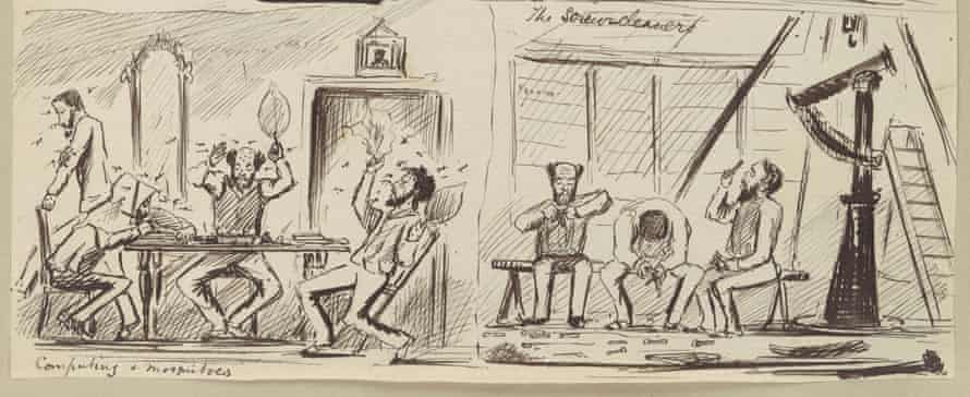 Caricature drawings by Noble of the observers plagued by mosquitoes and polishing telescope parts.