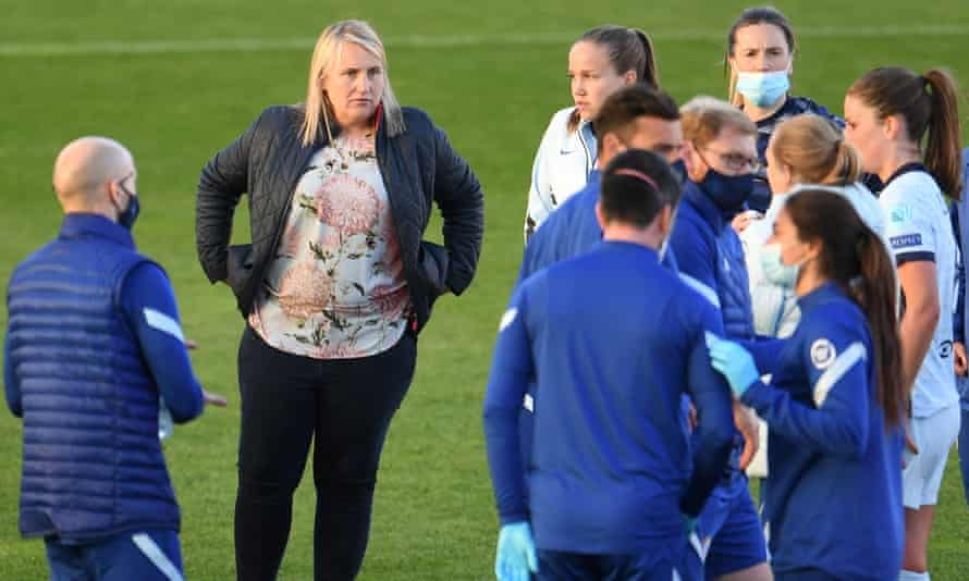 Emma Hayes on the pitch after Chelsea Women's Champions League first leg semi-final defeat in Munich.