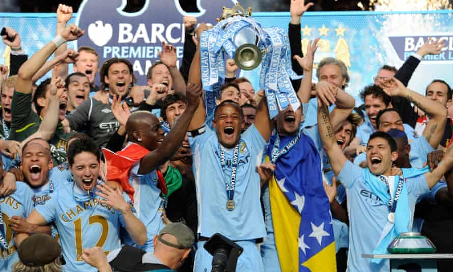 Manchester City celebrate their 2012 Premier League title, won during the first period investigated by Uefa.