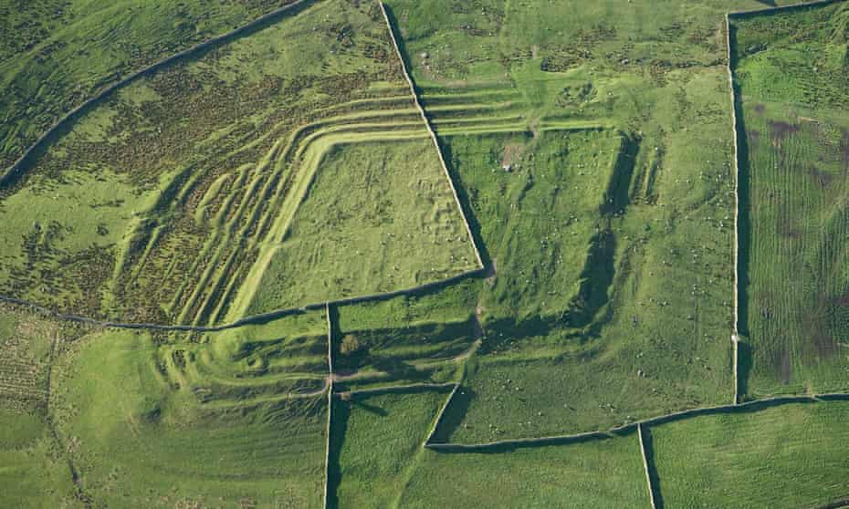 Whitley Castle Roman fort as viewed from the air,