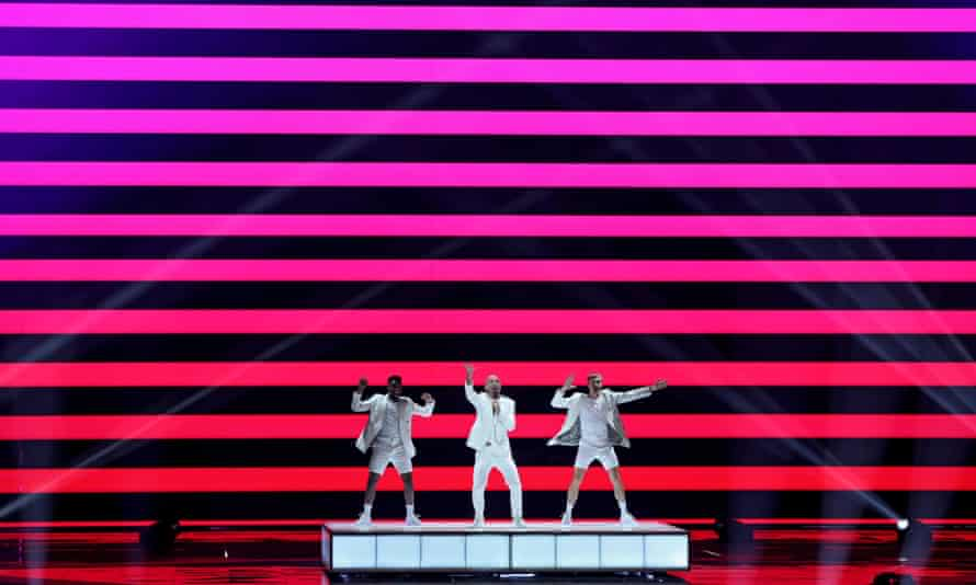 Serhat of San Marino performs at rehearsals for the grand final.