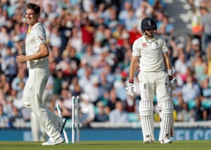 Root is bowled out by Cummins.