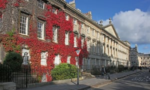 In the red … Virginia creeper-covered terrace in Queen Square