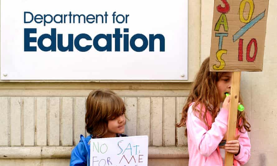 primary schoolchildren accompanying their parents's protest against the Sats tests outside the Department for Education in London last week.