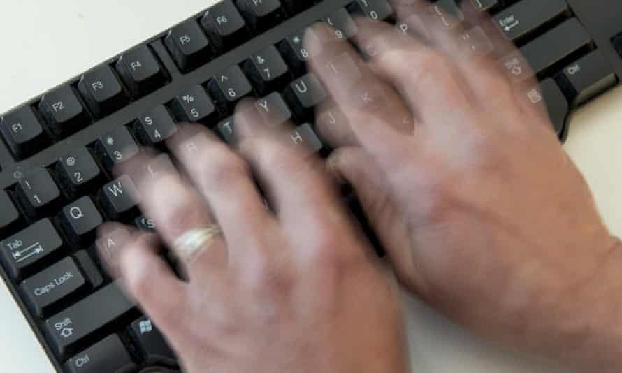 male hands on keyboard