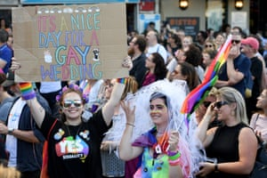 Revellers celebrate the yes vote for marriage equality on 15 November.