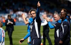 Huddersfield Town manager David Wagner acknowledges the fans after the match against Cardiff.