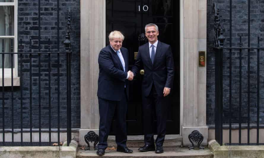 Boris Johnson with Nato secretary general Jens Stoltenberg