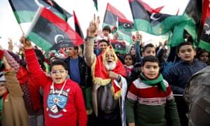 Libyans mark anniversary of the revolution against Gaddafi in Tripoli