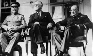 Joseph Stalin (left), Franklin Roosevelt (centre) and Winston Churchill during the Tehran conference in November 1943.