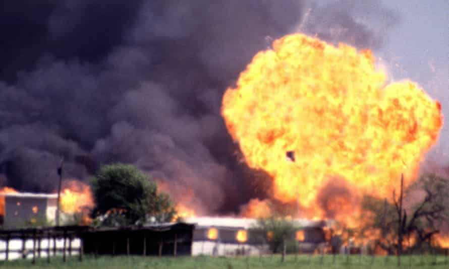 The Branch Davidian compound explodes in a burst of flames, ending the standoff between cult leader David Koresh and his followers and the FBI.