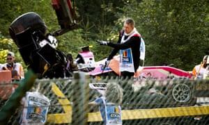Antoine Hubert's BWT Arden car is removed from the Spa-Francorchamps track after his collision with Juan Manuel Correa