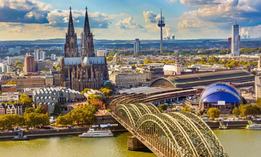 The Rhine and train station in Cologne.