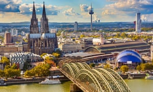 The Rhine at Cologne, and the city's cathedral.