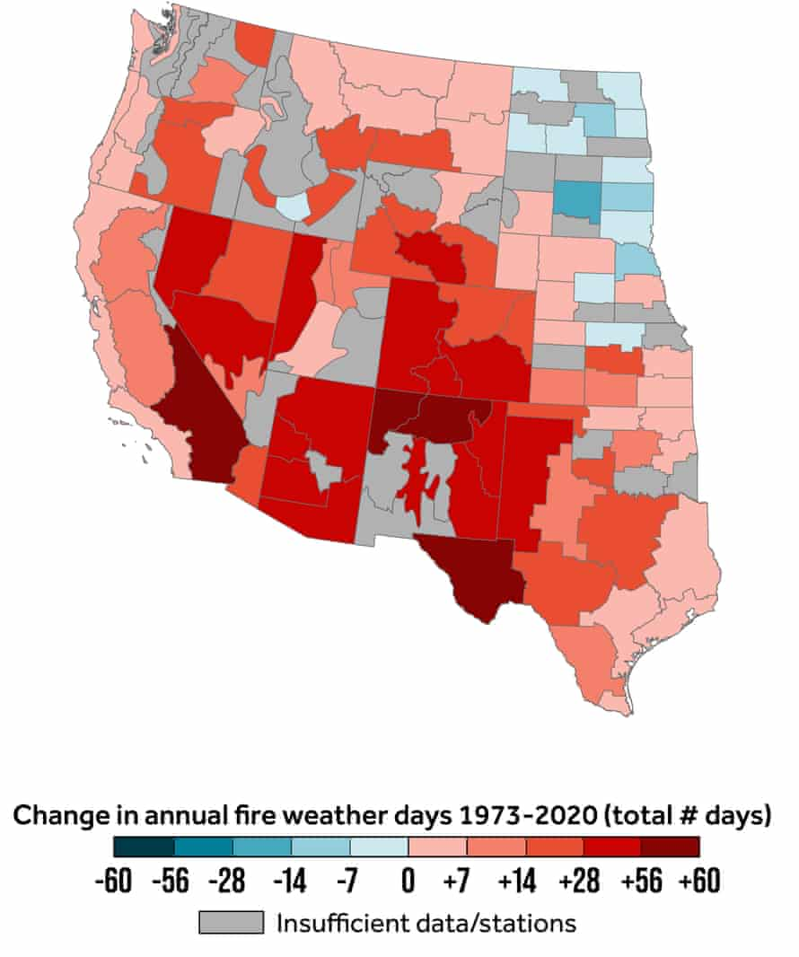 map showing change in annual fire weather days by total number of days