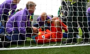 Hugo Lloris dislocated his left elbow during Tottenham's defeat at Brighton.