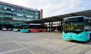Buses in Shenzhen Bus Company's main charging depot in Futian.