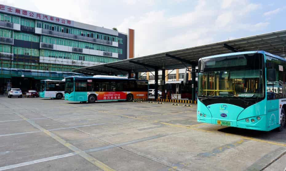 Buses in Shenzhen Bus Company's main charging depot in Futian.